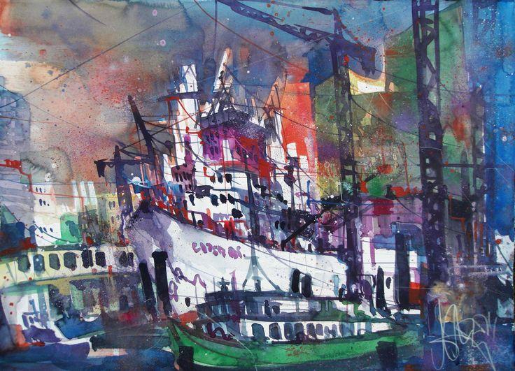 Hamburg, Hafenszenerie, Aquarell auf Bütten 56 x 76 cm, 2014