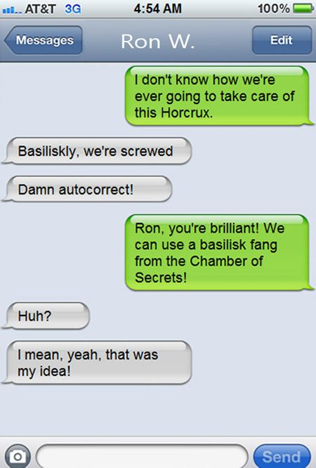 Texts From (Movie Characters) Last Night: Hermione Granger & Ron Weasley