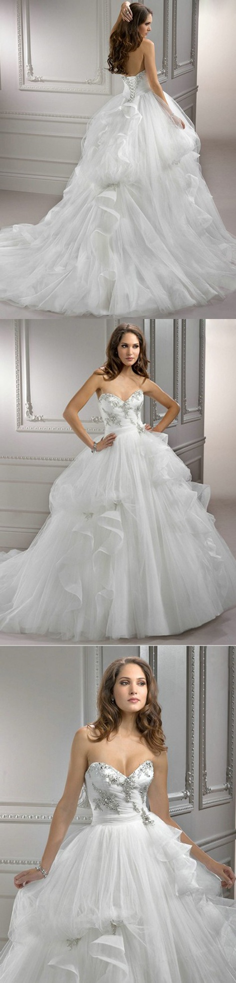 White Tulle Romantic Silver Stones 2013 Design Ball Gown Corset Top Wedding Dress $209.99