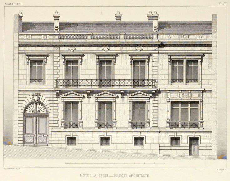 Classical Front Elevation Designs : Elevation of a private residence paris old architecture