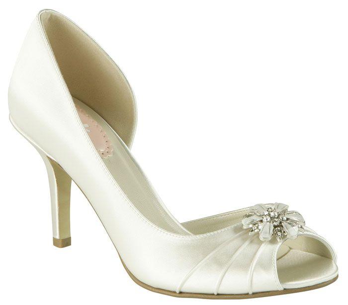 Burgundy satin Open side swirled diamante brooch wedding shoes kLN3TlN7M