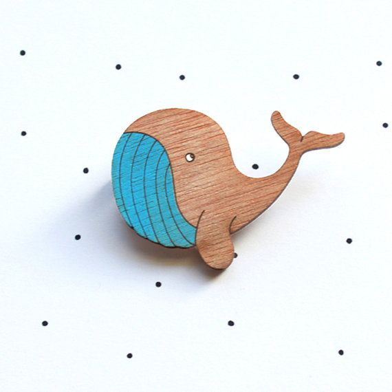 Wooden Laser Cut Whale Brooch by solittletimeco on Etsy, $25.00