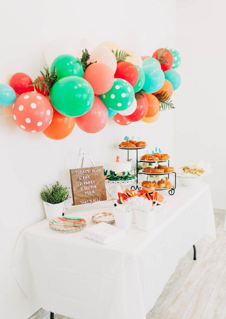 Blakes 2nd Birthday Moana Inspired Party Toddler Kids Tropical DIY Balloon Garland Jess