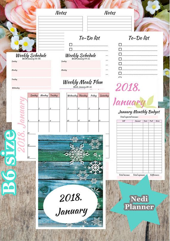 B6 size  January Monthly Planner Planner Printable 2018n