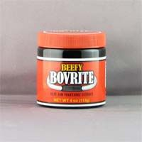 Beefy Bovrite is a meat and vegetable extract to spread on toast, bread and crackers or use to improve flavors of stews and roasts, add to hot water for a hearty beef broth. From the United States.