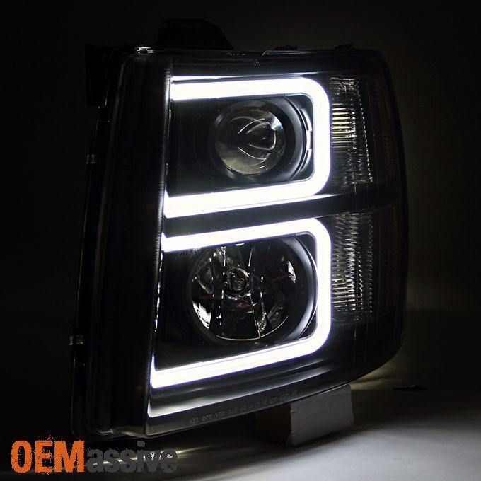 2007-2013 Silverado 1500 07-14 2500HD 3500HD Black LED Tube Projector Headlights