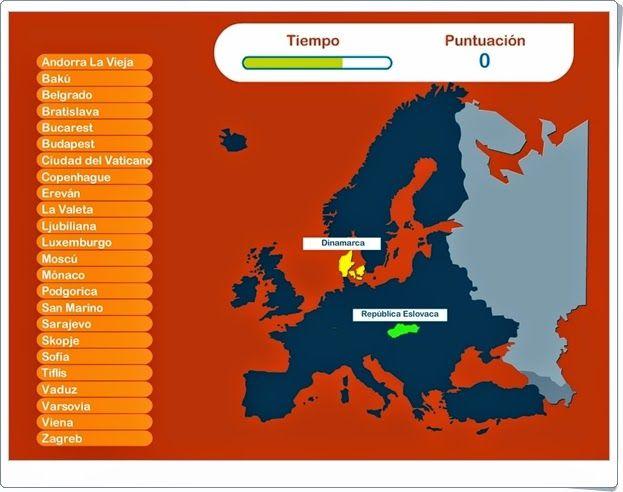 """""""Capitales de Europa"""" es un juego en el que hay que marcar, en un tiempo limitado, la capital de cada estado que se ilumina en el mapa. Da la posibilidad de repasar, antes de jugar, todas las capitales."""