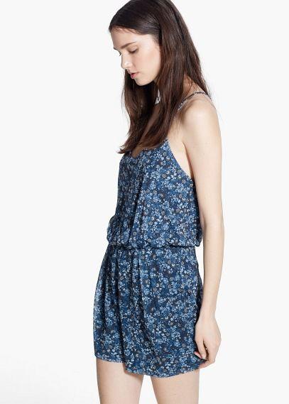 Combi-short à fleurs - Combinaisons pour Femme | MANGO Outlet France