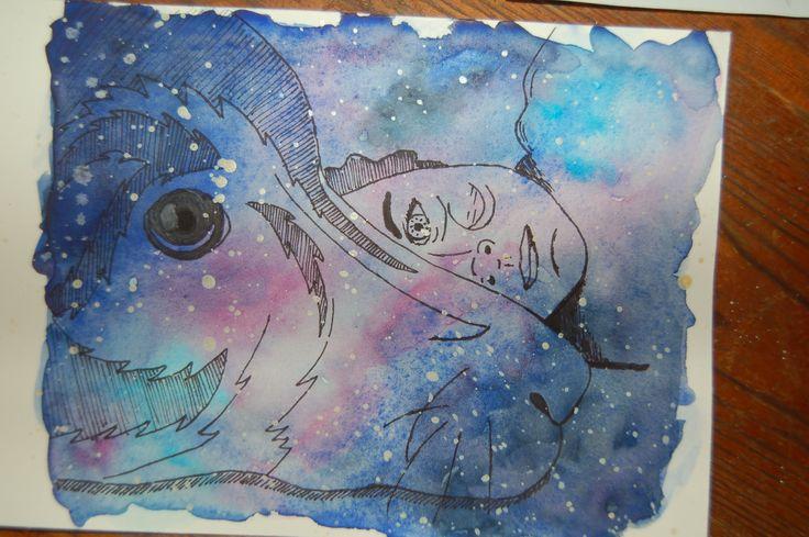 watercolor dog Sunny galaxy stars