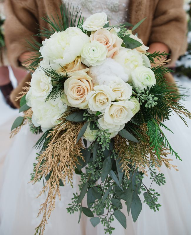 Love the gold greens! 15 Beautiful Bouquets for Your Winter Wedding via Brit + Co.
