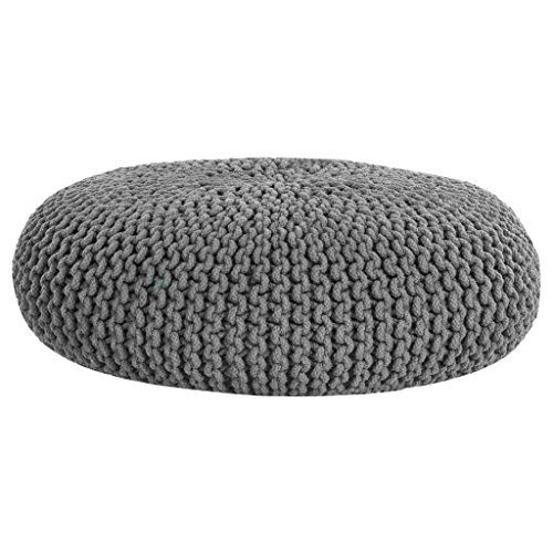 From 64.99 Homescapes Grey Knitted Pouffe Footstool Occasional Seat Bean Filled 100% Cotton For Living Room Children Or The Elderly