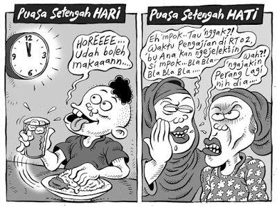 MICE CARTOON, Kompas Minggu - 12 Juni 2016: Puasa Setengah Hati