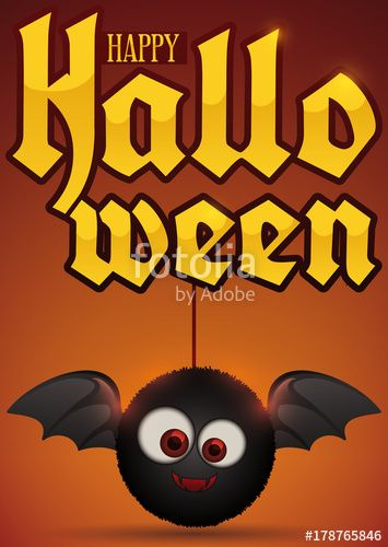 Cute Furry Bat Toy Holding of Golden Sign for Halloween