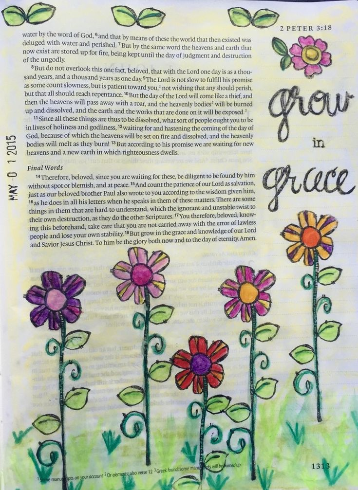 Bible Journaling, 2 Peter 3:18 — Arden Ratcliff-Mann (Illustrated Faith Bloom devotional) #illustratedfaith