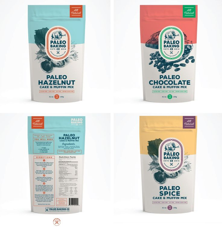 Eye-catching paleo cake and muffin mix packaging design by THELOGOLOUNGE.
