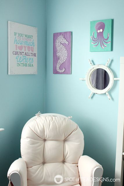 Under the Sea #Nursery Wall art using @DecoArt_Inc Americana Acrylic Paint | spotofteadesigns.com