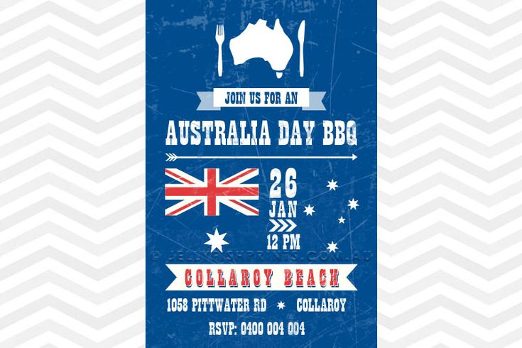 Australia Day BBQ Invitation Blue, red and white Australia Day Party Invitation with the flag and stars: - http://www.jellyfishprints.com.au/product/australia-day-bbq-invitation/