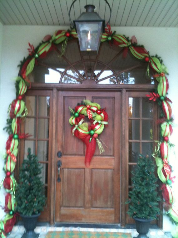 Festive deco mesh pre lit  Christmas Garland red and by LotSigns, $180.00
