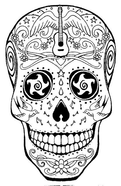 sugar candy skulls coloring pages - photo#18