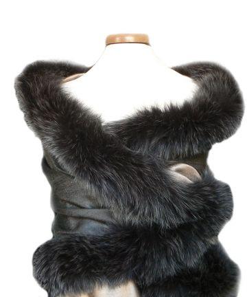 Edition LESSisRARE-Etole de fourrure et soie réversible anthracite et mordoré Fur scarf