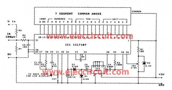 Digital Voltmeter Circuit Diagram Using Icl7107 7106 With Pcb Basic Electronic Circuits Digital Circuit Circuit