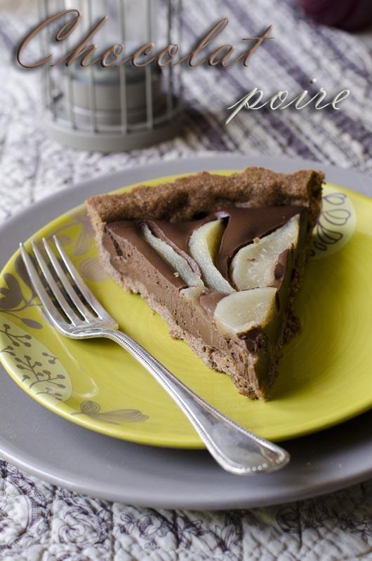 Tarte chocolat et poire sur pâte sablée au chocolat et à