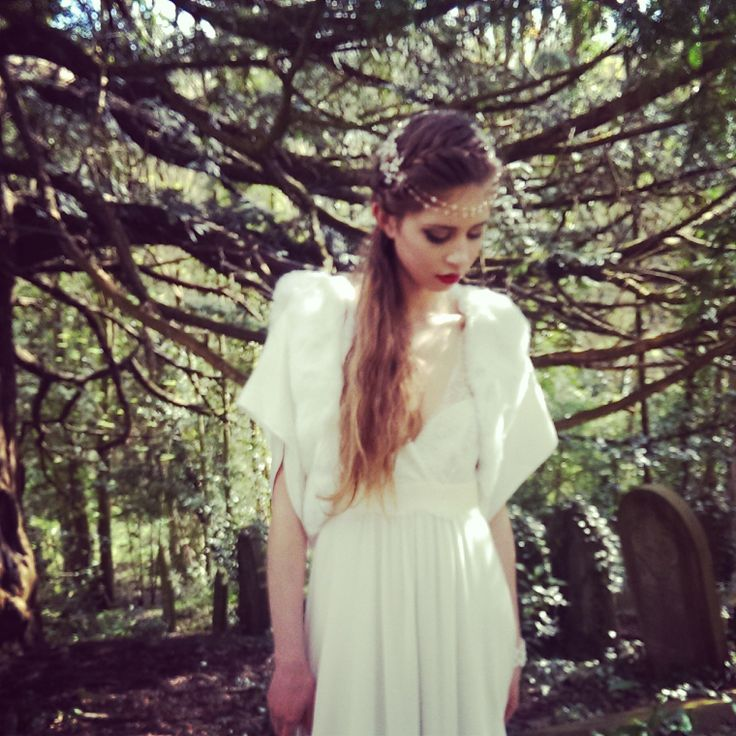 Bohemian Bride. Laure de Sagazan Ruiz. Fur jacket with silk satin sleeves by Blanche in the Brambles. Headdress Hermione Harbutt Fiori