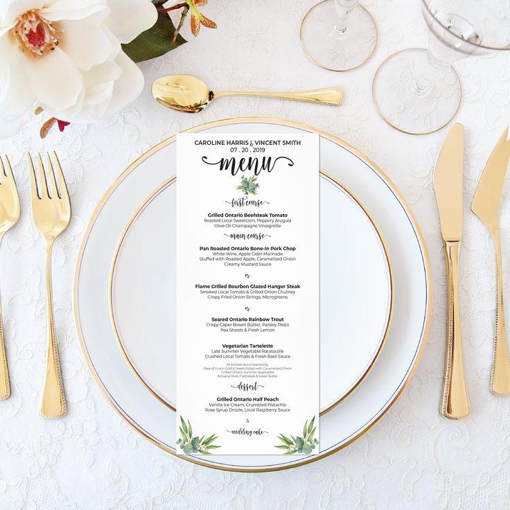 Printable Wedding Menu - Personalized Watercolor Eucalyptus Wedding Boho Wedding Menu - Elegant Wedding Set - Calligraphy Wedding Greenery by OnionSisterCreative on Etsy