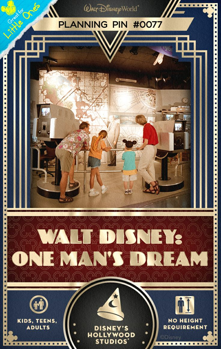 Walt Disney World Planning Pins: A multimedia gallery exhibit of rare artifacts and an inspiring 15-minute film bring the story of Walt Disney to life.
