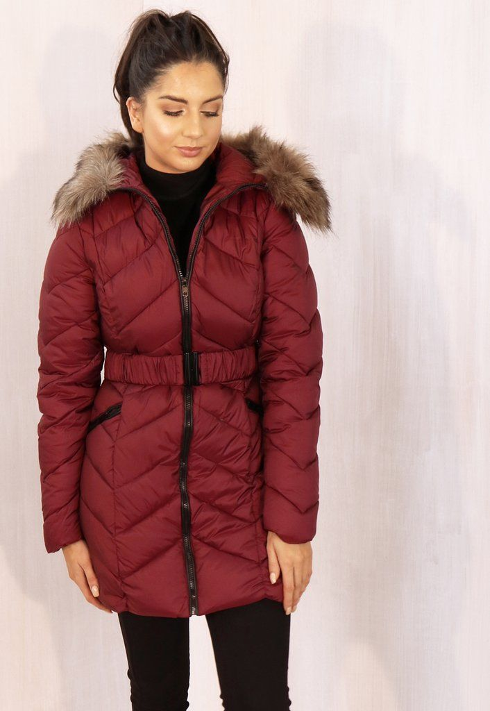 d472fdaae Jasmine Long Belted Hooded Chevron Puffer Coat with Natural Fur Trim in  Burgundy Red | DIY and crafts