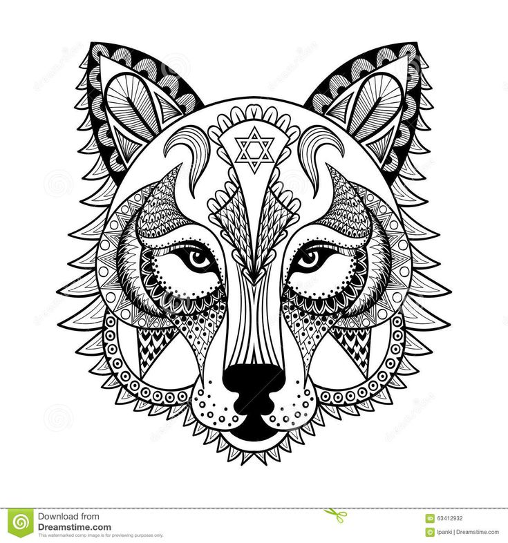 Ornamental Wolf Ethnic Zentangled Mascot Amulet Mask Of A Werewolf Patterned Animal For Adult Anti Stress Coloring Pages Hand Drawn Totem Illustration