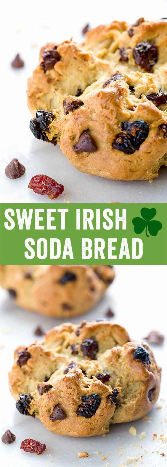 Sweet Irish Soda Bread with Cherries - This recipe is a twist on the traditional loaf and loaded with dried cherries, dark chocolate, and slivered almonds. via @foodiegavin