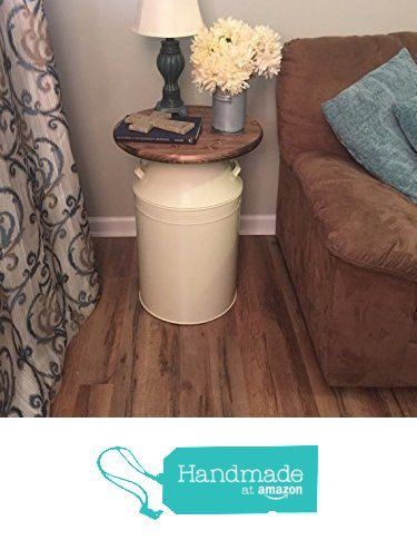 Milk Can end table, wood end table, cream milk can, end table, rustic end table, rustic table, round end table from Country Corner Goods https://www.amazon.com/dp/B019WMF31M/ref=hnd_sw_r_pi_awdo_OvkSxb1NRH4BN #handmadeatamazon