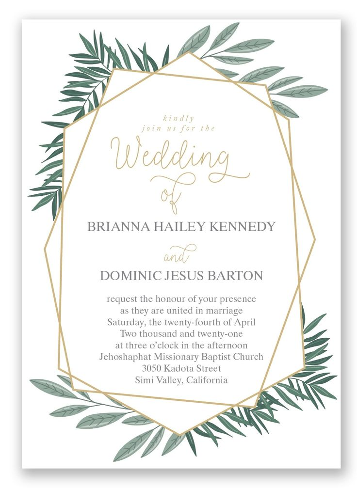 Opulent Lines wedding invitation by Invitations by David's Bridal features geometric shapes and greenery