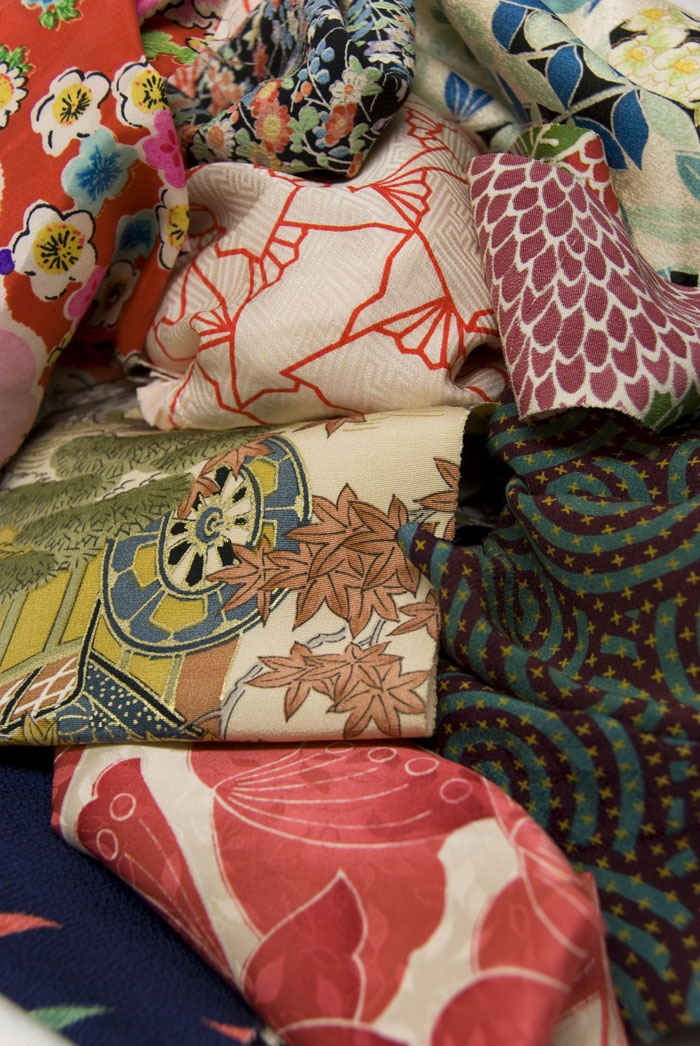 No embroidery, just lovely vintage Japanese kimono fabric.