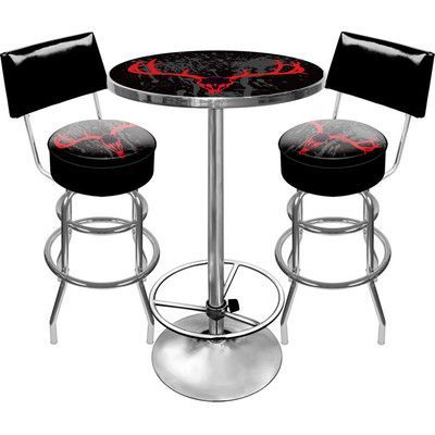 Trademark Global Hunt Skull Game Room 3 Piece Pub Table Set