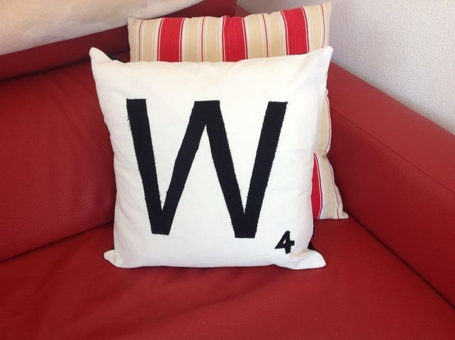 Personalised scrabble tile cushion applique letter made to order £10.00