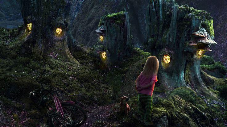 домики пни, сказочный лес, Девочка, собачка