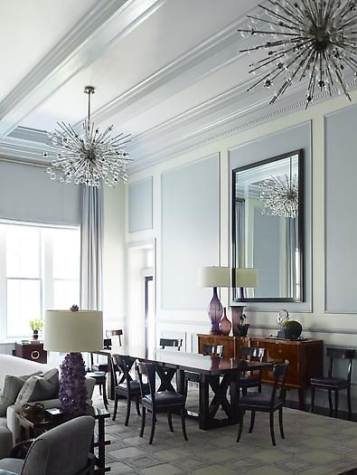 two-tone paneling: Lights, Interior Design, Dining Rooms, Living Rooms, Sputnik Chandelier, Light Fixtures, Steven Gambrel