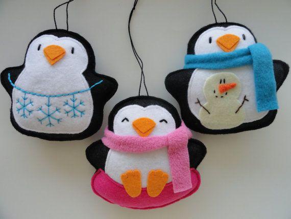 Penguin Snow Day Ornaments-Felt Ornaments-Penguin Ornaments-Felt Penguin Ornaments-Penguin Decoration-Winter Ornaments-Holiday Penguins