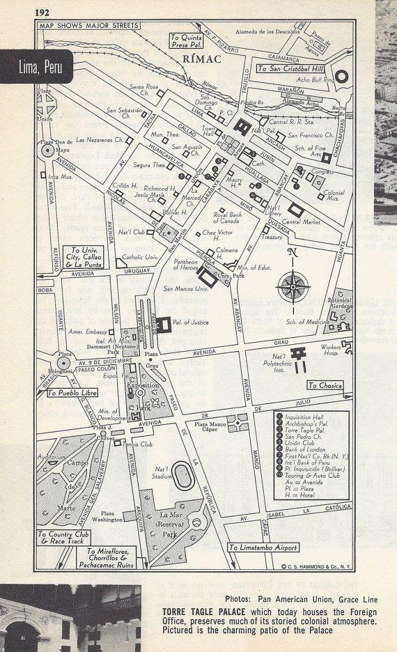 Lima Peru Map, City Map, Street Map, 1950s, South America, Black and White, Retro Map Decor, City Street Grid, Historic Map