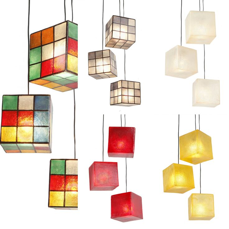 Cube lamps   Handmade fiberglass cube lamp  Fiberglass material is robust and lightweight  It can be hang from the ceiling as the central light of the space, or be put on the floor/any surface as a floor/desk lamp