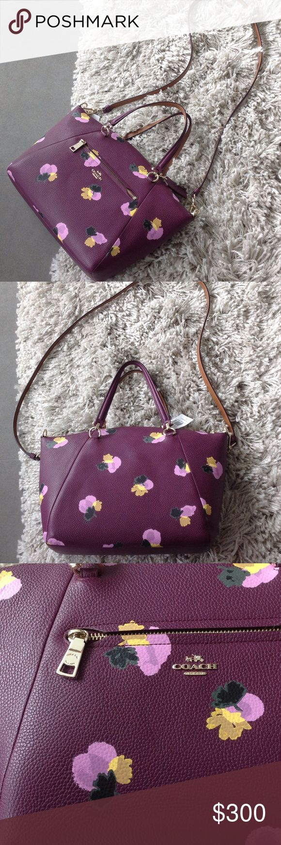 coach floral crossbody handbag printed leather inside zip pocket zip top closure fabric