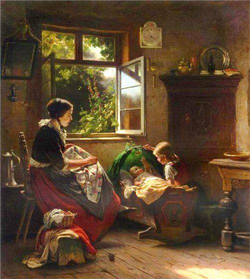 """Richard Sohn (1834 – 1912, German), """"Playing with baby""""."""