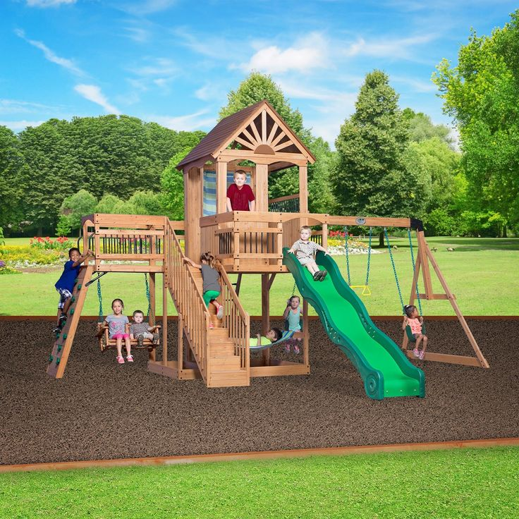 25 unique wooden swing sets ideas on pinterest baby for Small wooden swing sets