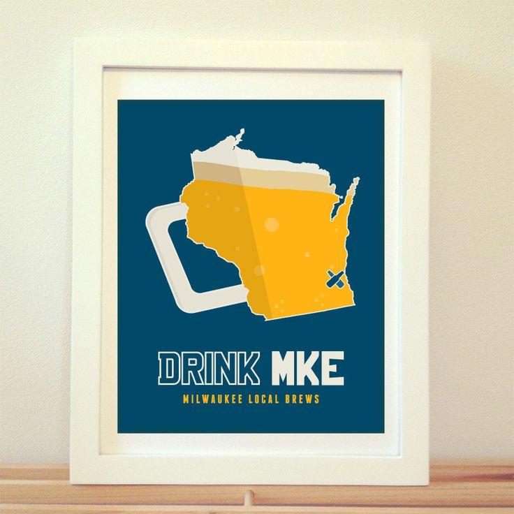 Milwaukee, Wisconsin, Old Milwaukee, MKE, Milwaukee Beer, Milwaukee Beer Print, Milwaukee Poster, Milwaukee Print, Milwaukee Art, Beer Art by BentonParkPrints on Etsy