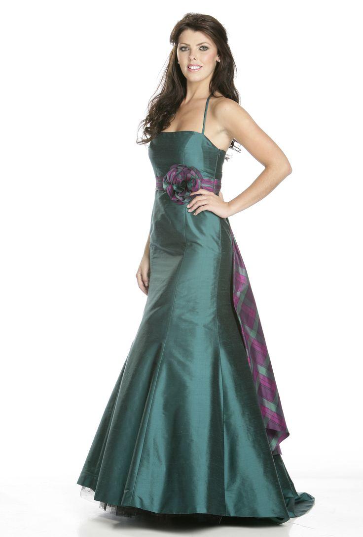 Bridesmaid dress with tartan sash quintessentially for Scottish wedding dresses with tartan