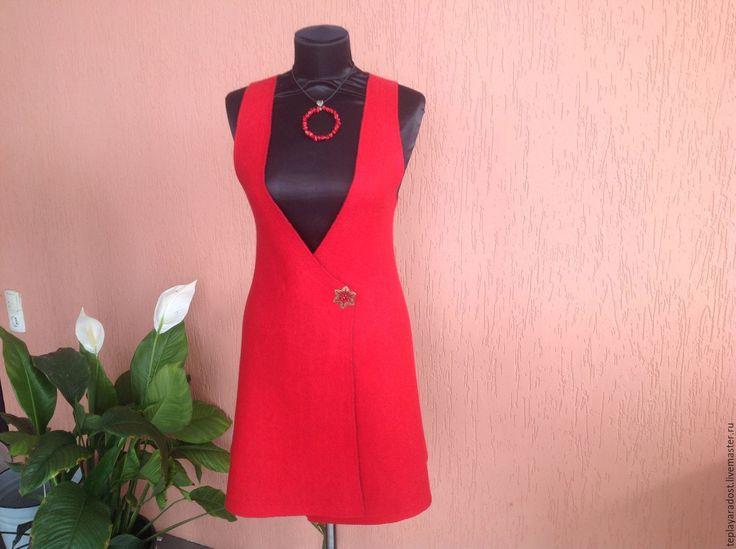 Купить Авторский валяный сарафан - ярко-красный, авторская ручная работа, одежда для женщин