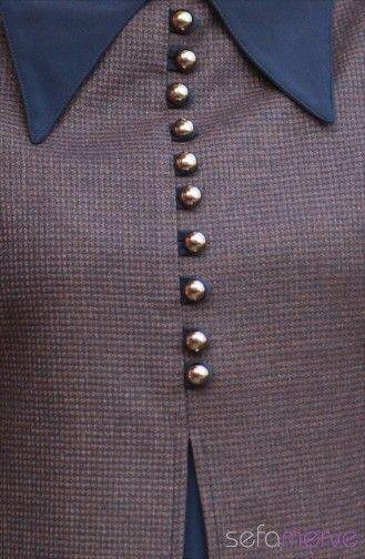 Renk: Kahverengi. Aksesuar: Düğme Detay,Fermuarlı,Astarlı. Yaka: Sivri Yaka. Kol: Uzun Kollu. Kumaş: Poliviskon