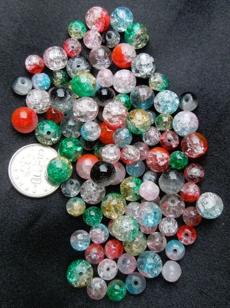 100 Round Crackle Glass Beads for jewellery making Multi-Coloured Size 6, 8 (mm)